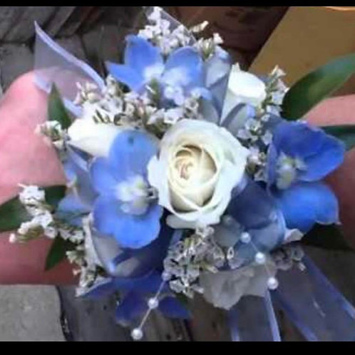Blues and Pearls Corsage