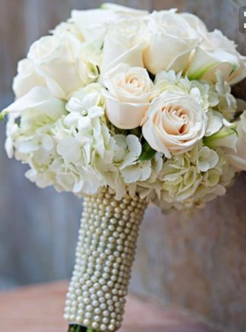 White and Blush with Pearls