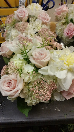 Pink Rice flower and Peonies