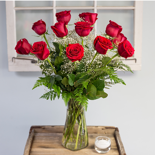 Dozen Red Long Stem Roses Valentines