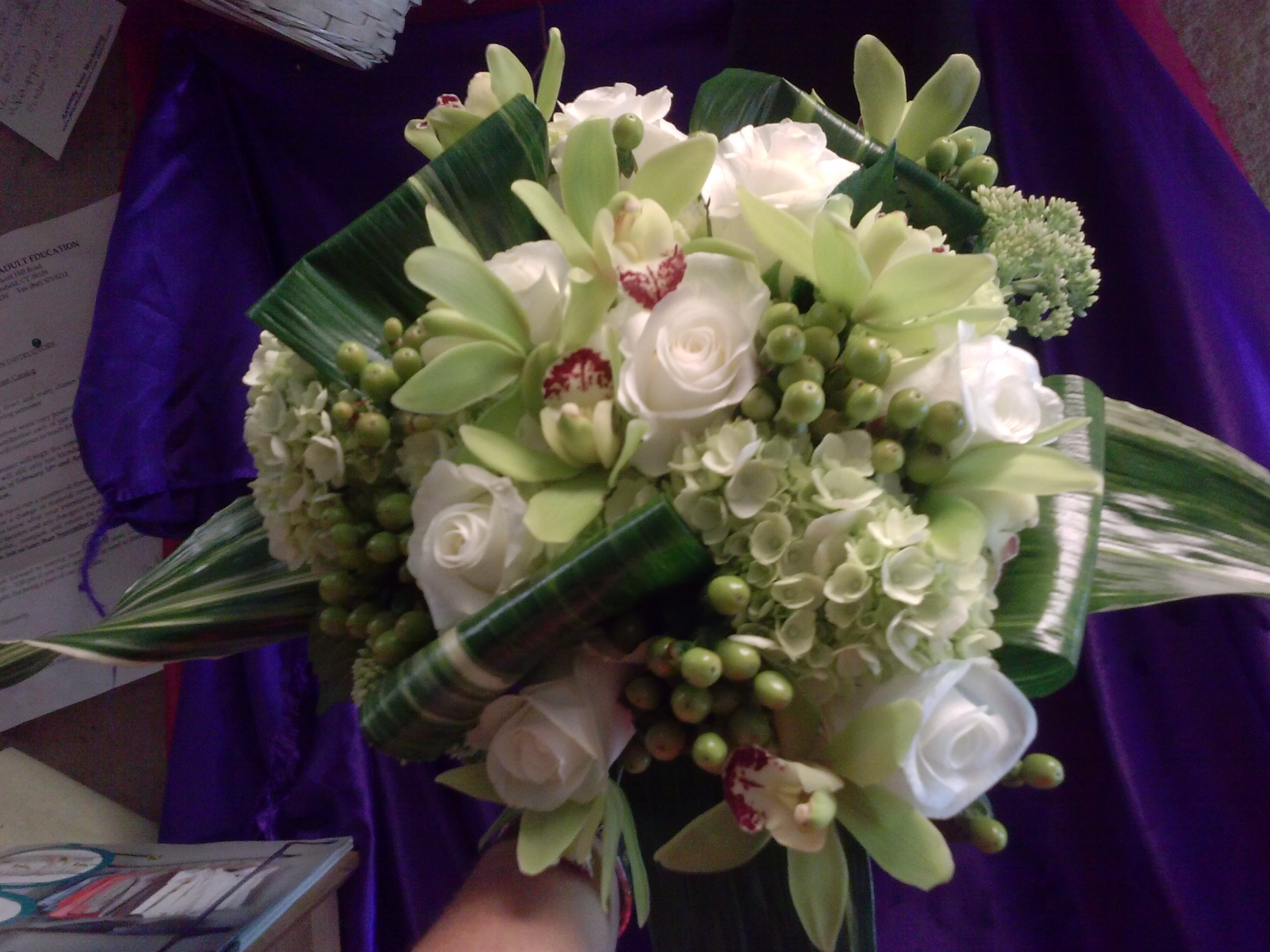 Green, Orchids, Hydrangeas with whit