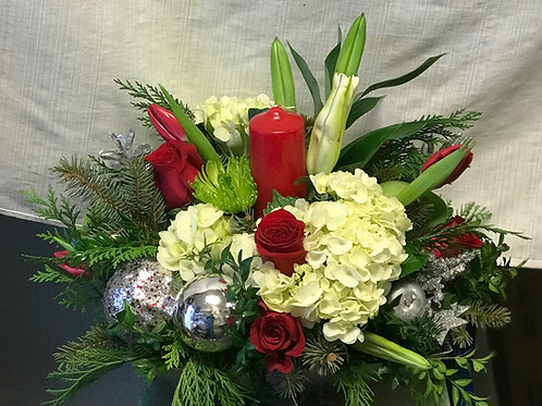 Holiday Centerpiece with pillar candles