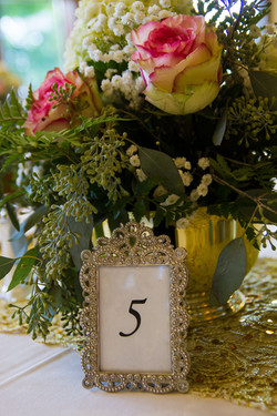Pink Rose and Gold Centerpiece