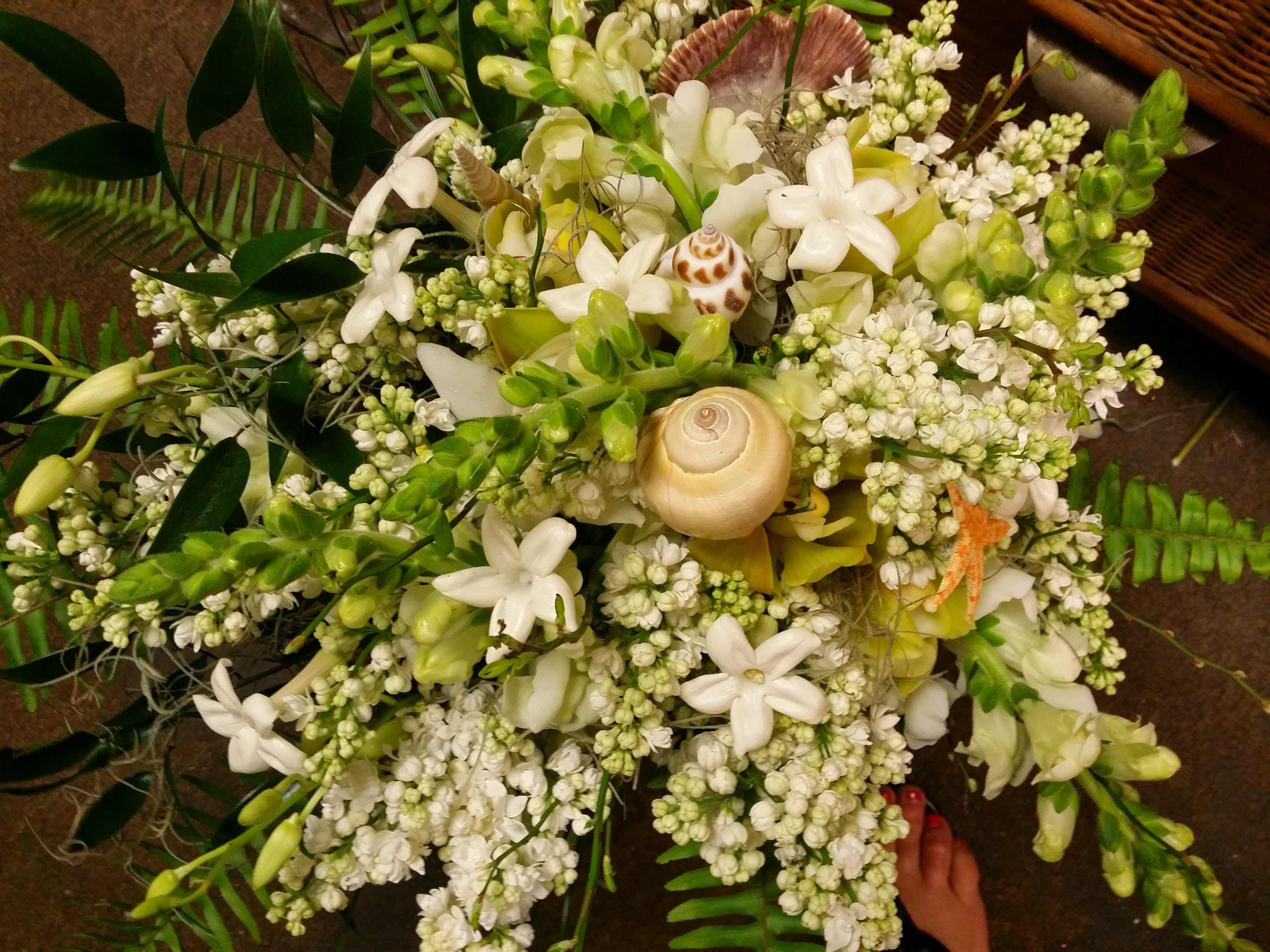 Sea Shell Bouquet with White Lilac