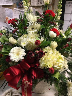 25)Funeral basket red & white $175+