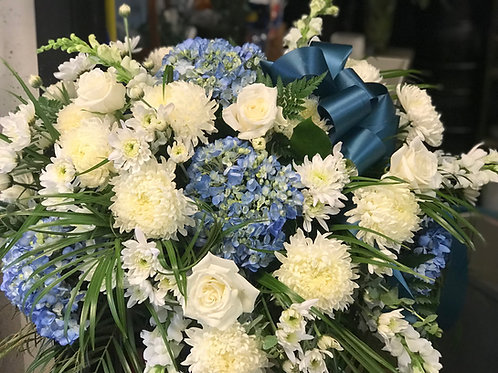 White and Blue Casket Spray