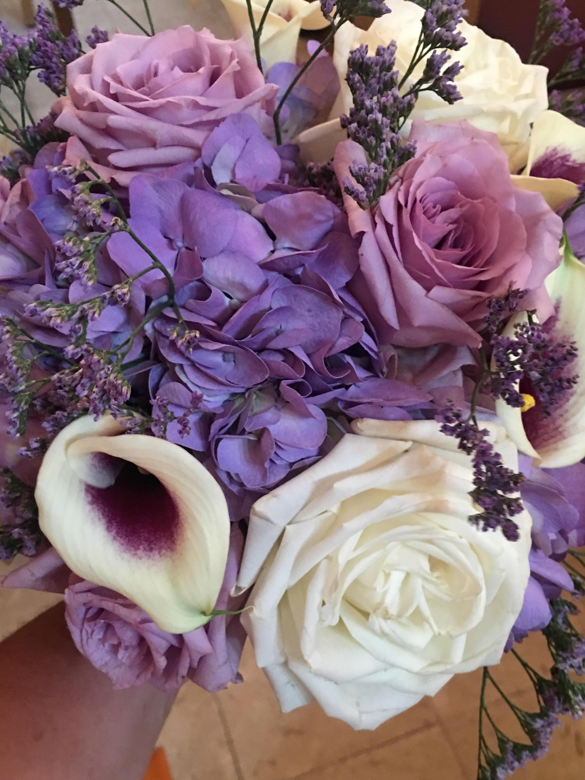 Purple Hydrangeas and Picasso Calla