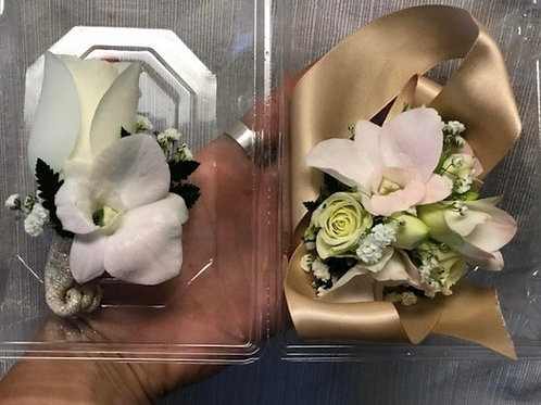 Orchid Boutoniere and Wrist Corsage Set