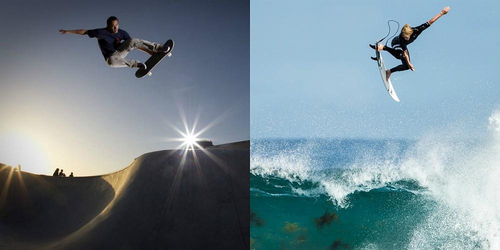 Движения серферов и скейтеров очень похожи