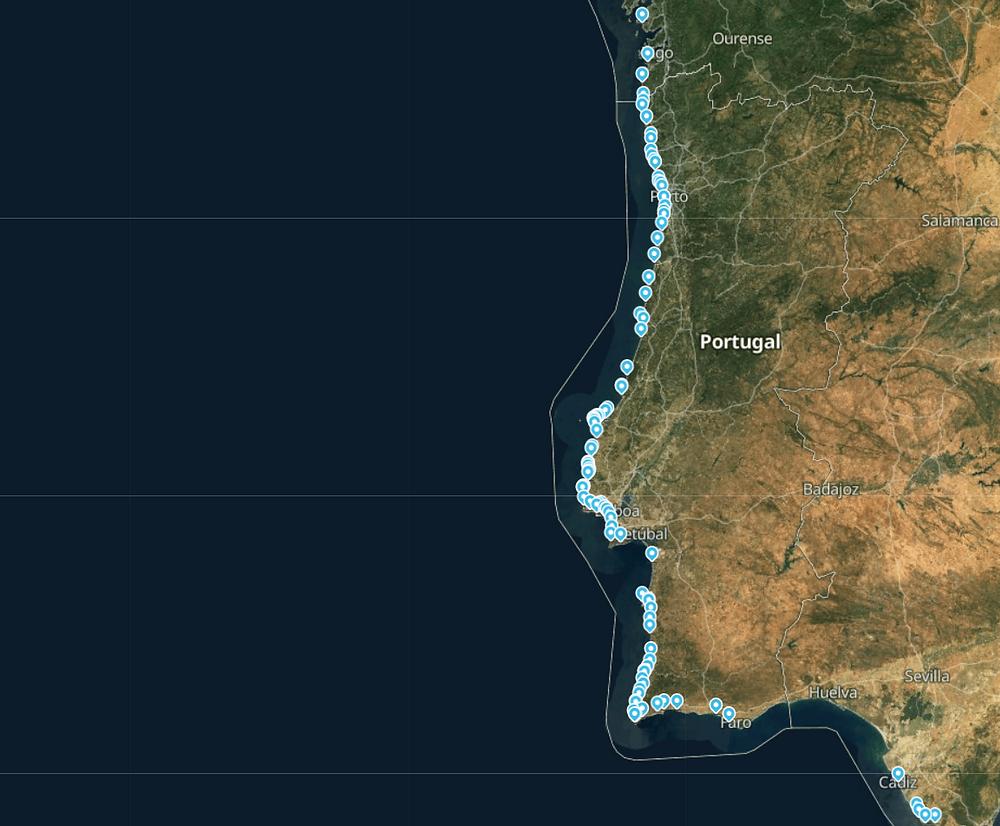 Количество сёрф-спотов в Португалии
