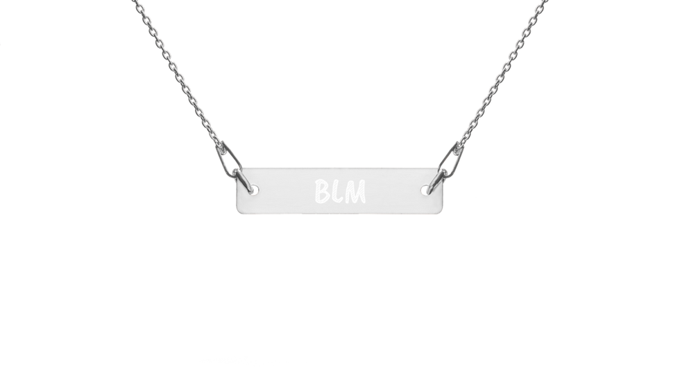 BLM Engraved Silver Bar Chain Necklace