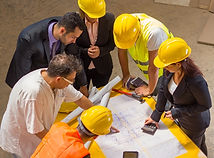 group of construction managers discussin
