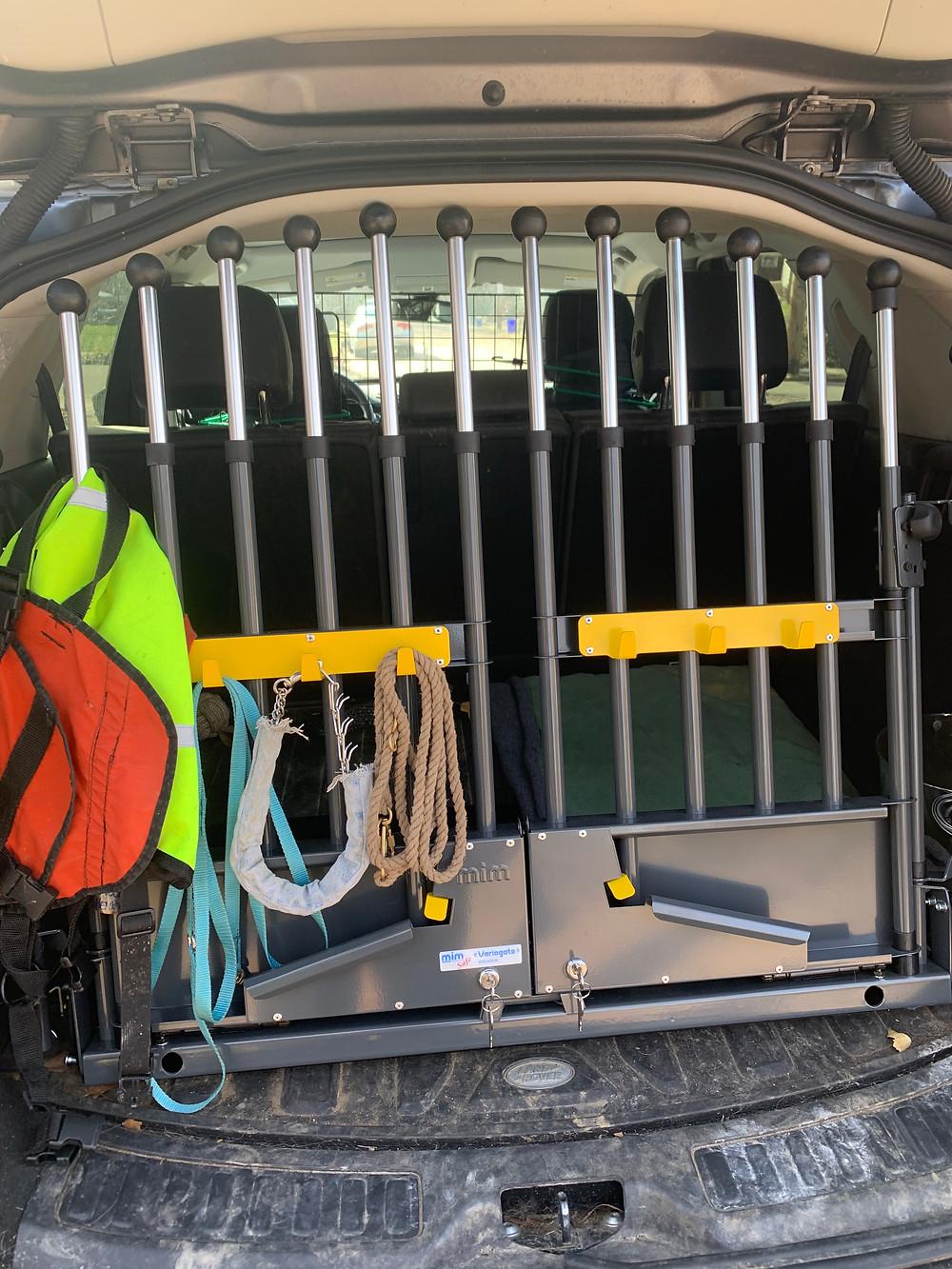 dog safety gate in back of SUV