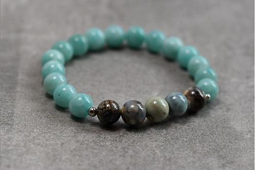 Beautiful Dragon Skin Agate and Amazonite stretchy bracelet