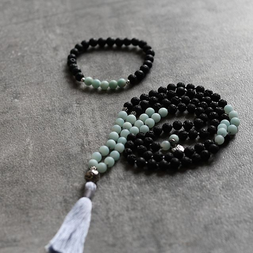 Matte Amazonite and Black Lava beads
