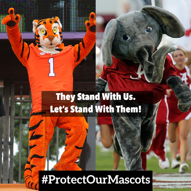 Clemson and Alabama Students Rally Fans through #ProtectOurMascot Initiative during College Football