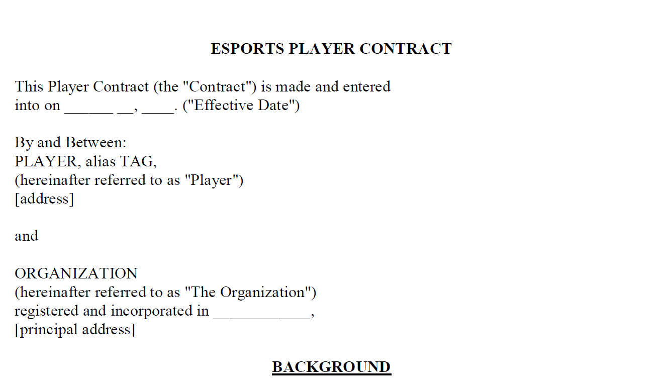 creating an esport player contract template part 1 esports news north carolina the laws. Black Bedroom Furniture Sets. Home Design Ideas