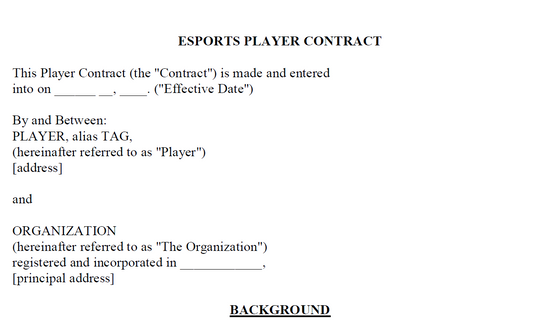 Creating an Esport Player Contract Template: Part 1