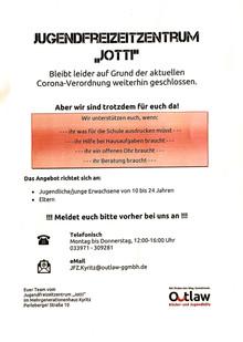 Unterstützungsangebot des JFZ Kyritz