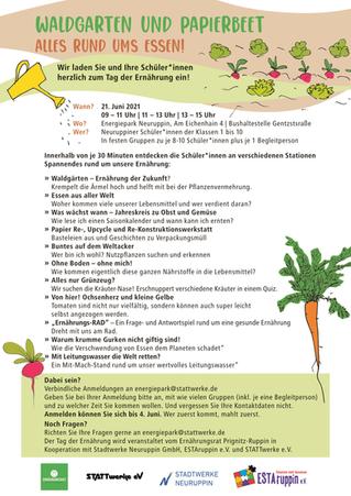 """Einladung zum Projekttag """"Tag der Ernährung"""" am 21. Juni 2021"""