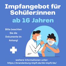 Impfangebot für Schüler*innen ab 16 Jahren