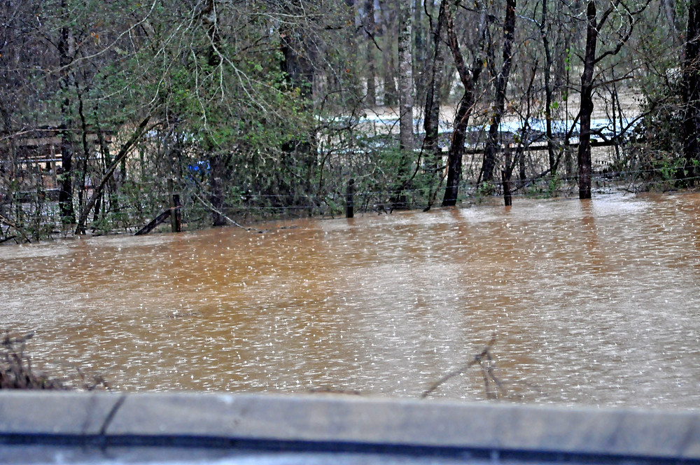 Today's scene of flood waters in Marietta where the North Saluda River swelled over its banks.  Pictured here is the flood waters behind the Dollar General Store on Geer Highway.  Photo by Roger Jewell