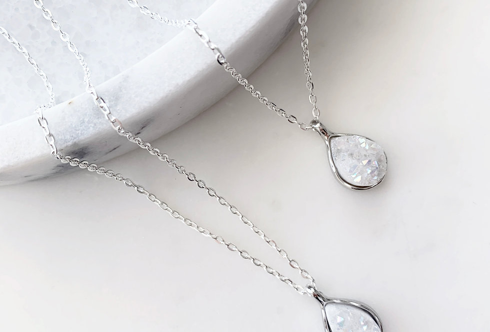 White Druzy Agate Necklace