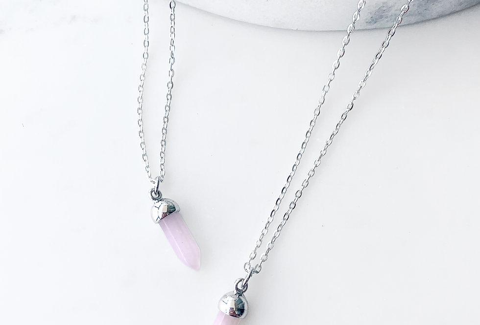 Rose Quartz Point Necklace