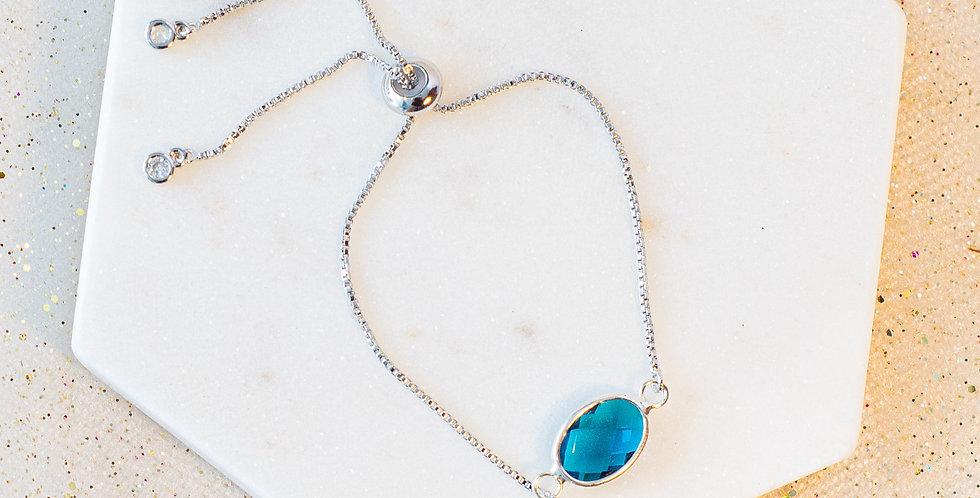 Sterling Silver Aqua Crystal Adjustable Bracelet