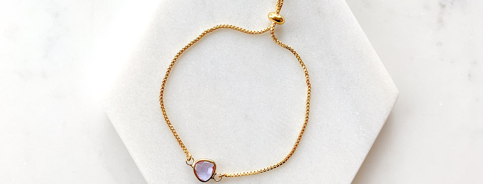 14K Gold-Plated on Sterling Silver Mini Purple Crystal Adjustable Bracelet