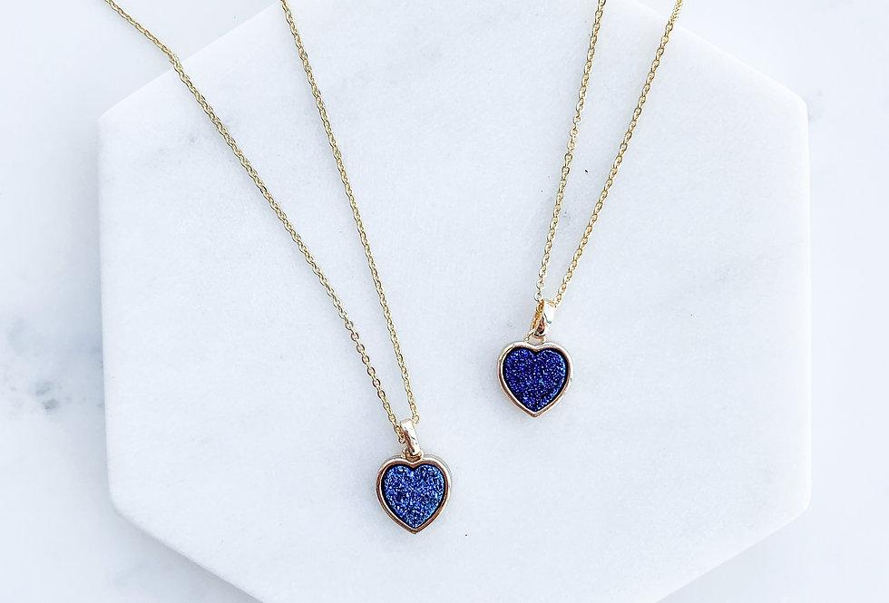 Midnight Heart Druzy Necklace
