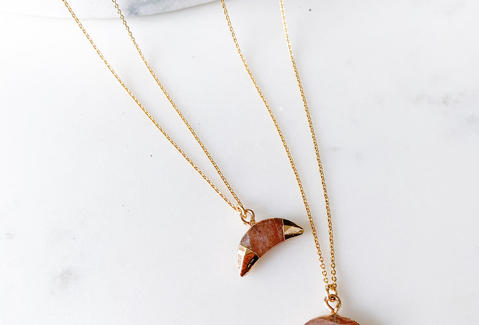 Sunstone Crescent Moon Necklace