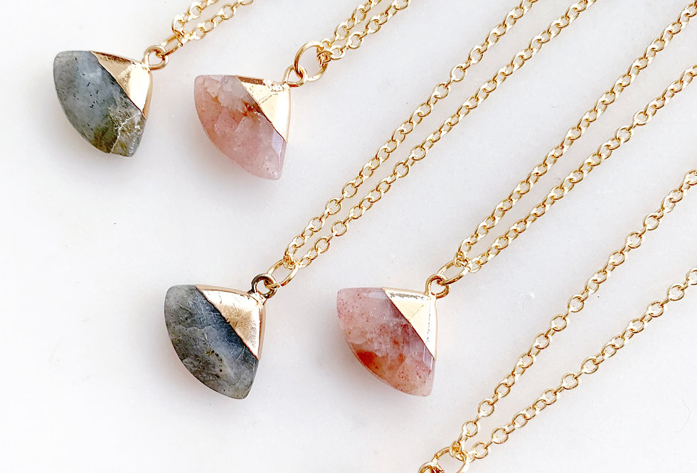 Crystal Fan Shape Necklace