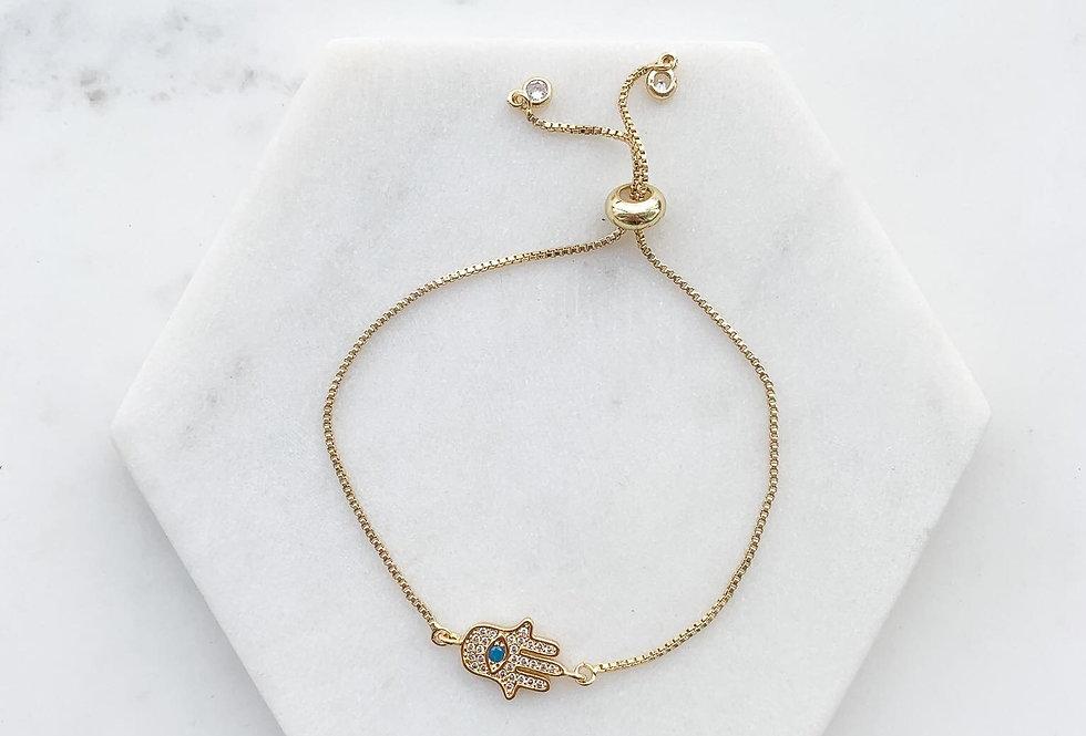 14K Gold-Plated on Sterling Silver Hand of Hamsa Evil Eye Adjustable Bracelet