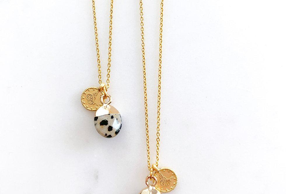 Dalmation Jasper Gem Drop Necklace