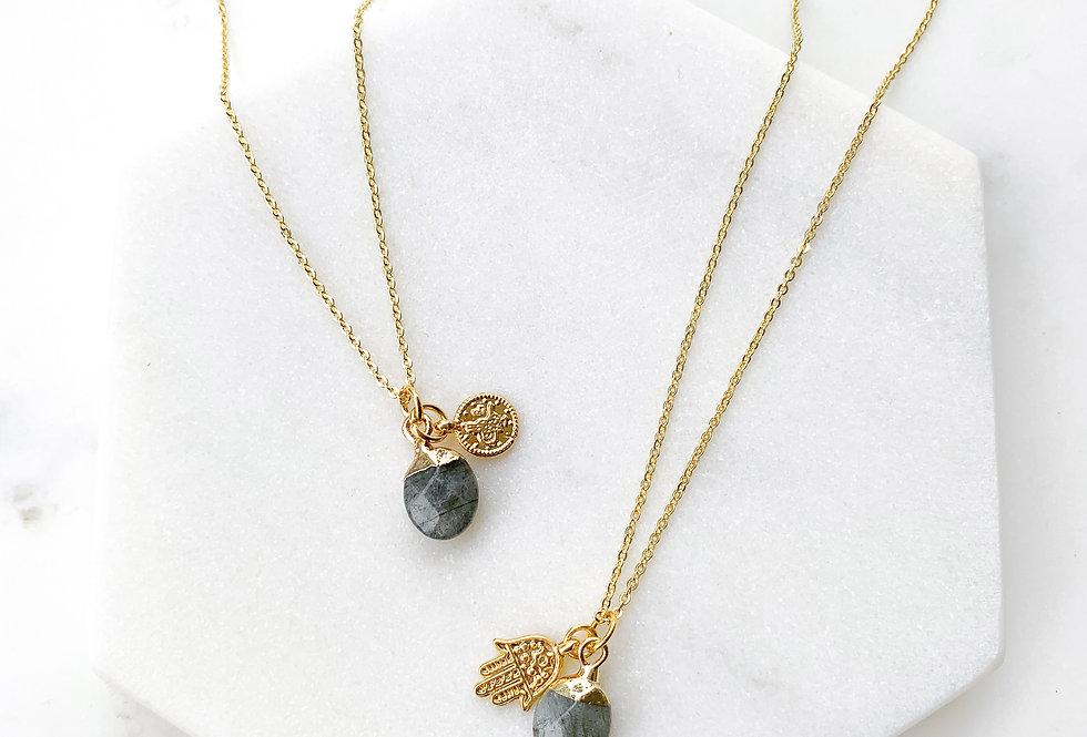 Labradorite Gem Drop Necklace