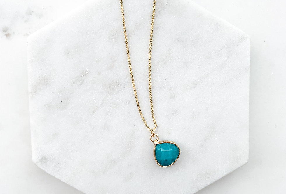 Natural White Jade - Teal Drop Necklace