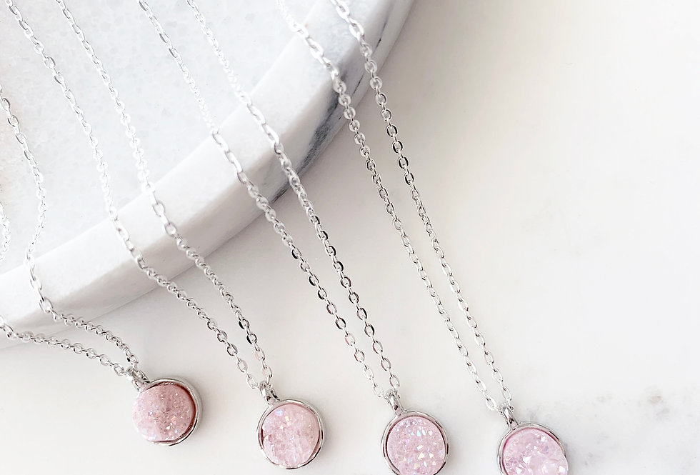 Baby Pink Druzy Agate Necklace