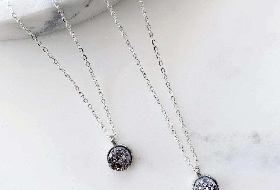 Silver Druzy Agate Necklace
