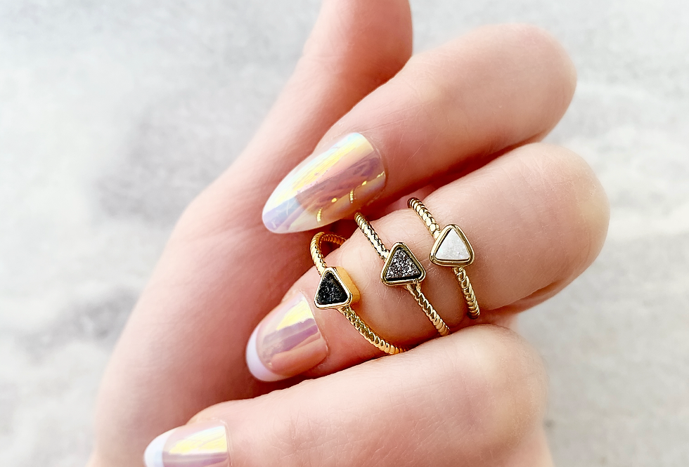 Triangle Druzy Agate Adjustable Ring