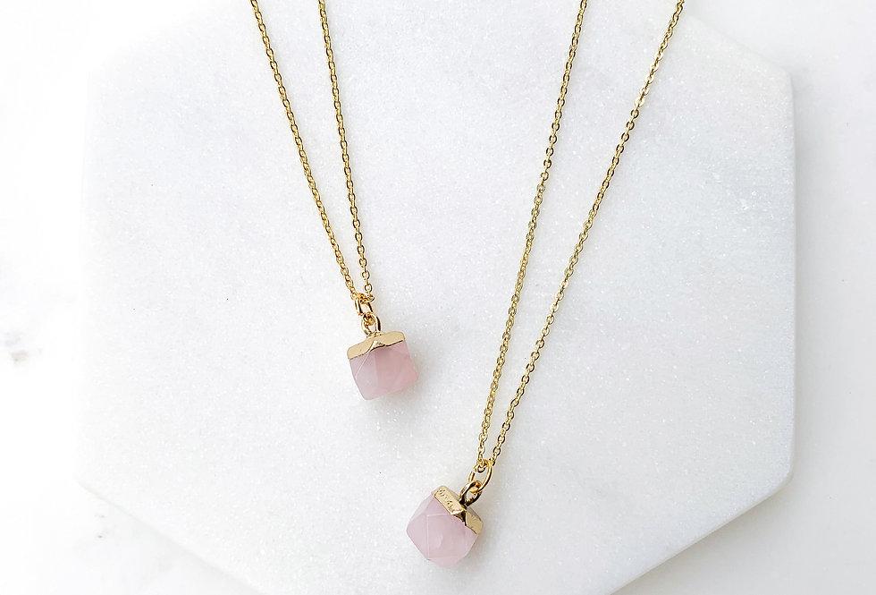Rose Quartz Nugget Necklace