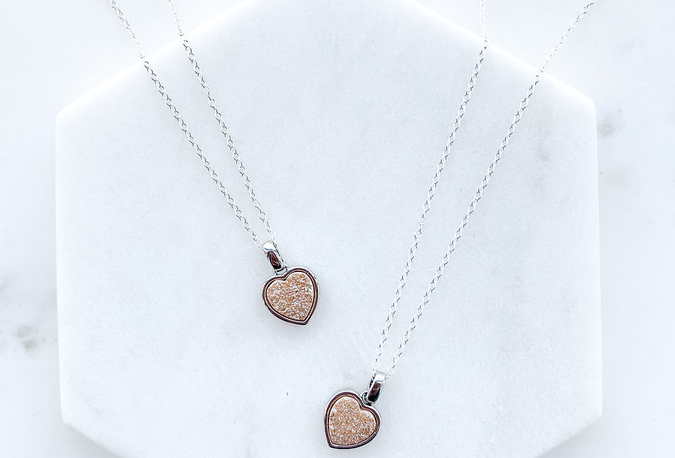 Silver Peach Heart Druzy Necklace