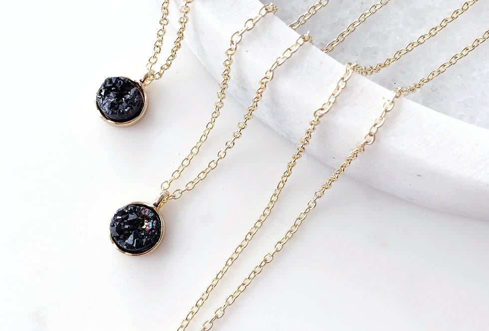 Black Druzy Agate Necklace