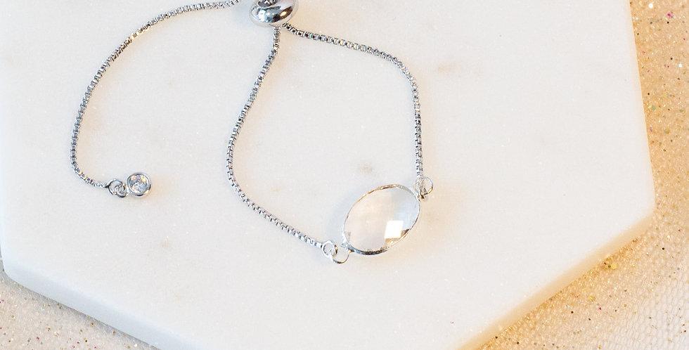 Sterling Silver Clear Crystal Adjustable Bracelet