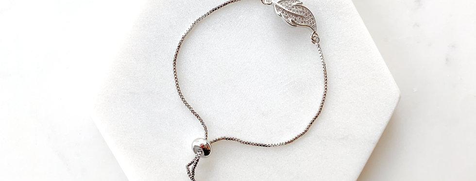 Sterling Silver Leaf Adjustable Bracelet