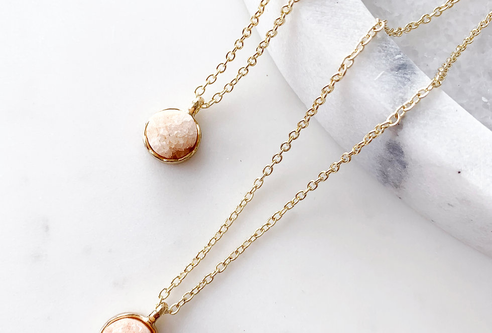 Peach Druzy Agate Necklace