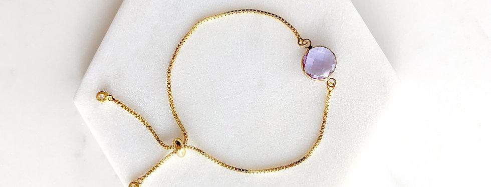 14K Gold-Plated on Sterling Silver Purple Crystal Adjustable Bracelet