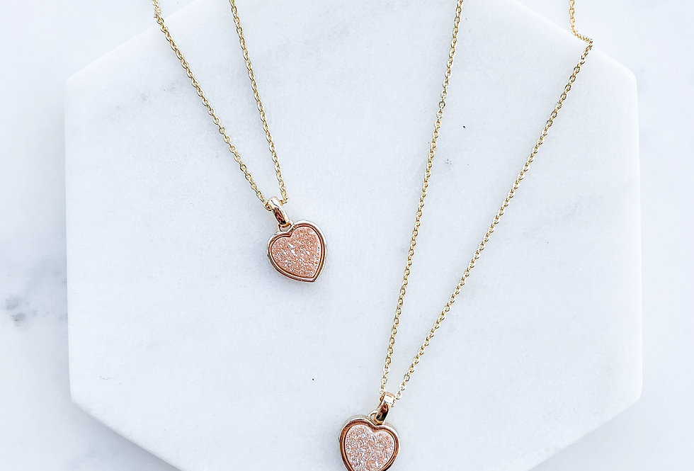 Peach Heart Druzy Necklace