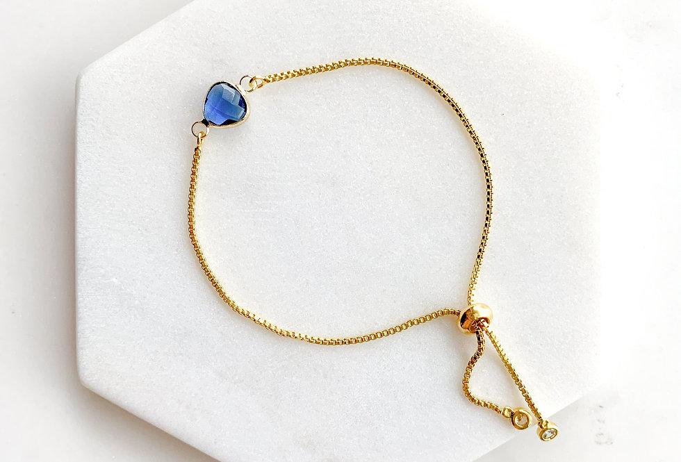 14K Gold-Plated on Sterling Silver Mini Blue Crystal Adjustable Bracel