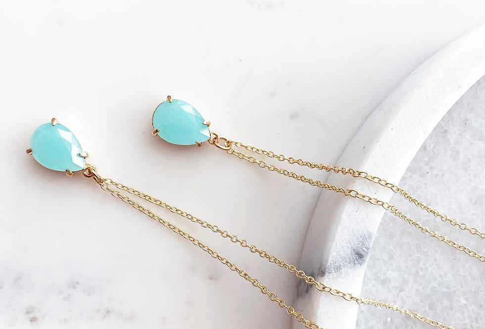 Aquamarine Tear Drop Necklace